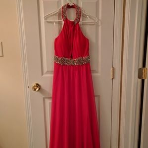Halter Neck Long Prom Dress With Cutout Detail--in